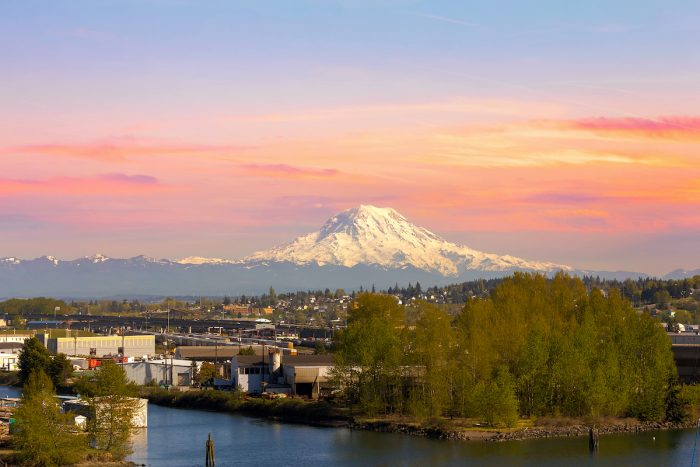 Mount Rainier from Tacoma Marina photo via Depositphotos