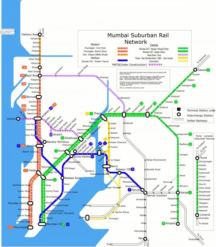 Mumbai Suburban Rail Network Map