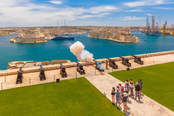Shot from cannon in Valletta, Malta photo via Depositphotos