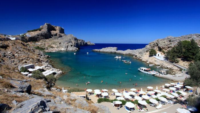 St Pauls Bay Lindos Rhodes Greece via Depositphotos