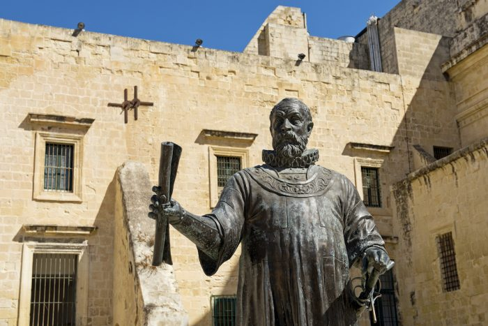 Statue of Grand Master Jean de Vallette, Malta photo via Depositphotos