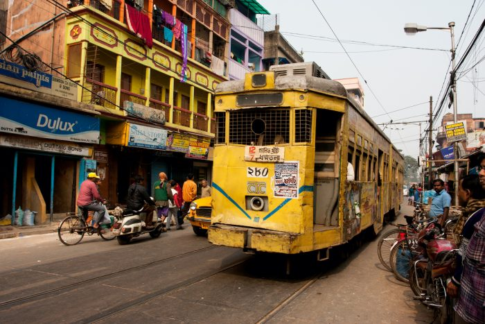 Traditional tram downtown Kolkata via Depositphotos