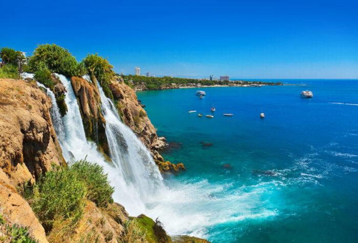 Waterfall Duden at Antalya, Turkey photo via Depositphotos