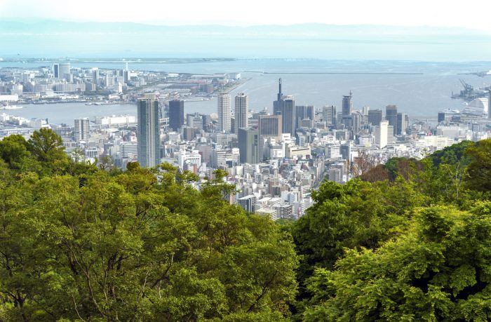 Aerial view of Kobe city and Port Island of Kobe from Mount Rokko photo via Depositphotos