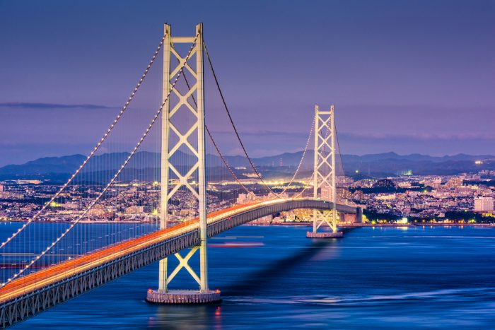 Akashi Kaikyo Bridge photo via Depositphotos