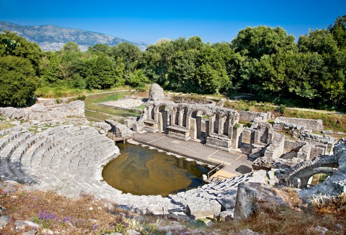 Amphitheater- Remains of the ancient Baptistery from the 6th century at Butrint, Albania. photo via Depositphotos