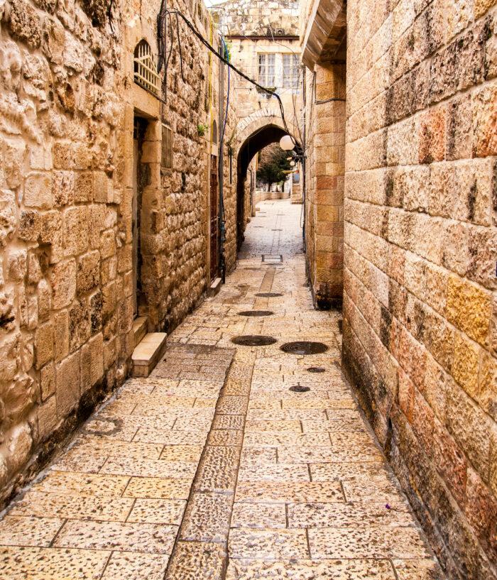 Ancient Alley in Jewish Quarter, Jerusalem photo via Depositphotos