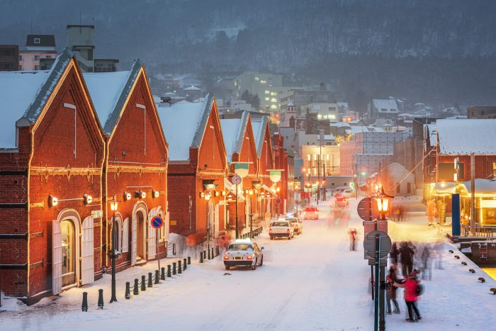 Hakodate, Hokkaido, Japan at the historic shops and restaurants of the Kanemori on a winter evening photo via Depositphotos