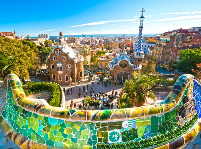 Park Guell in Barcelona, Spain photo via Depositphotos