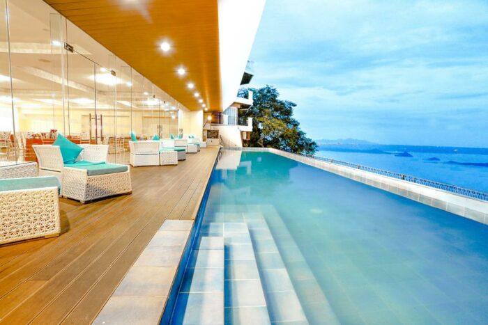 Beautiful Infinity swimming pool at Lake Hotel Tagaytay