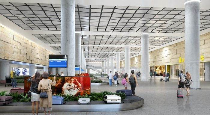 The finish of the ceiling and walls of The Baggage Claim Area, as shown in this rendered photo, is inspired by the formations in Pampanga's caves