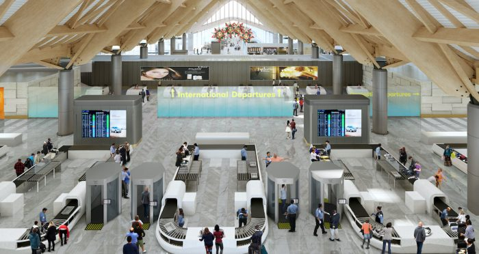 Photo above shows the rendered depiction of the Security Screening Area at the International Departure.