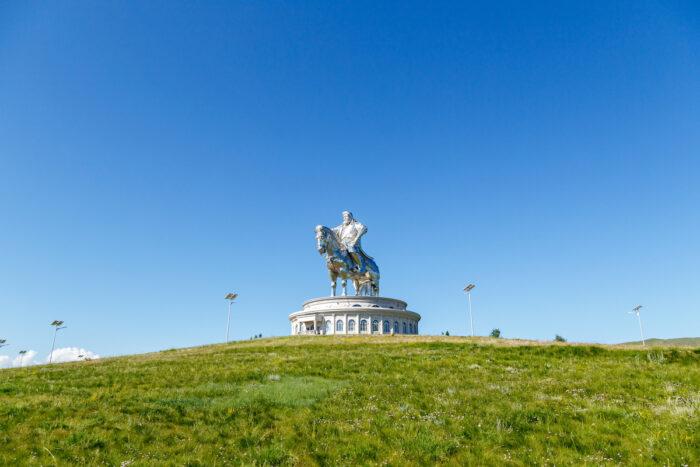 Equestrian statue of Genghis Khan in sunny weather. Mongolia, Ulaanbaatar photo via Depositphotos