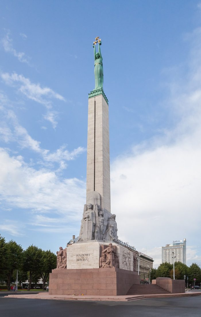 Freedom Monument in Riga Latvia by Diego Delso via Wikipedia CC