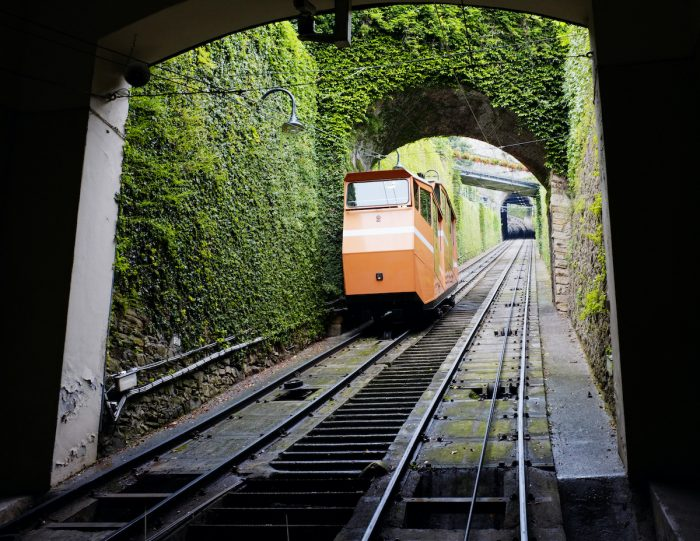 Funicular in Bergamo Italy photo via Depositphotos