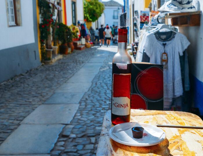 Ginja de Obidos, traditional sour cherry liquor photo via Depositphotos