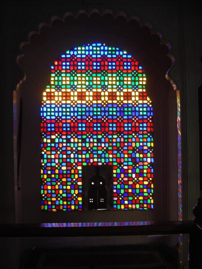 Glass window at Bagore-ki-Haveli by Apoorvapal via Wikipedia CC