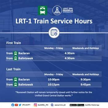 LRT-1 Regular Schedule (without Roosevelt Station)