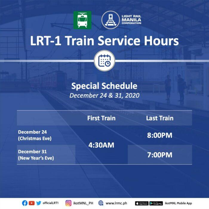 LRT1 Train Service Hours December 24 & 31 LRT-1 Service Hours