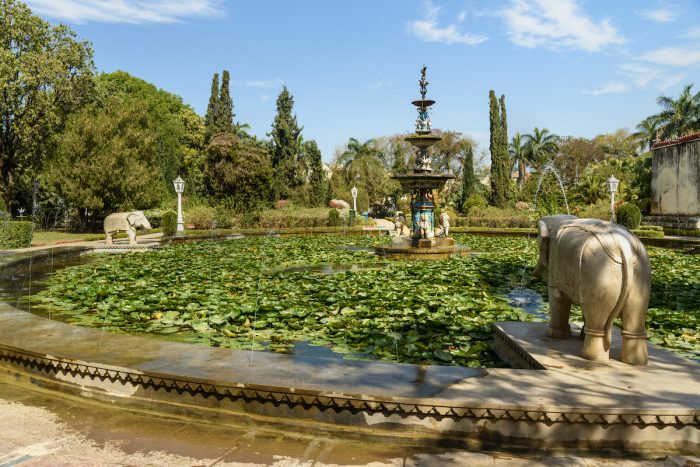 Lotus pool and marble elephants in Saheliyon ki Bari gardens or Courtyard of the Maidens in Udaipur photo via Depositphotos