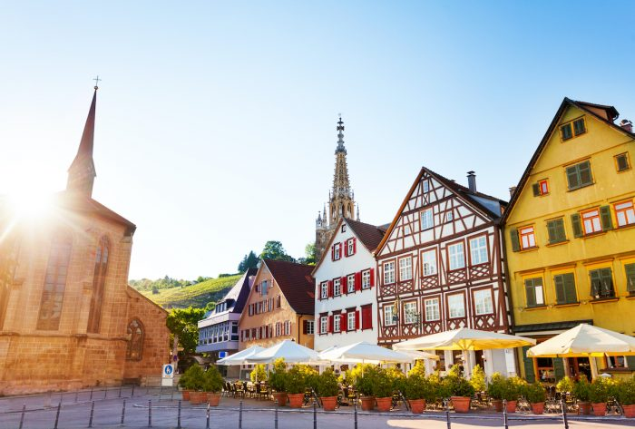 Market Square of Esslingen and spire of Church of Our Lady Frauenkirche in the distance photo via Depositphotos
