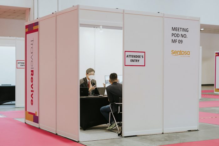 Meeting pods not only ensure privacy, but also facilitates safe one-on-one meetings between exhibitors and buyers.