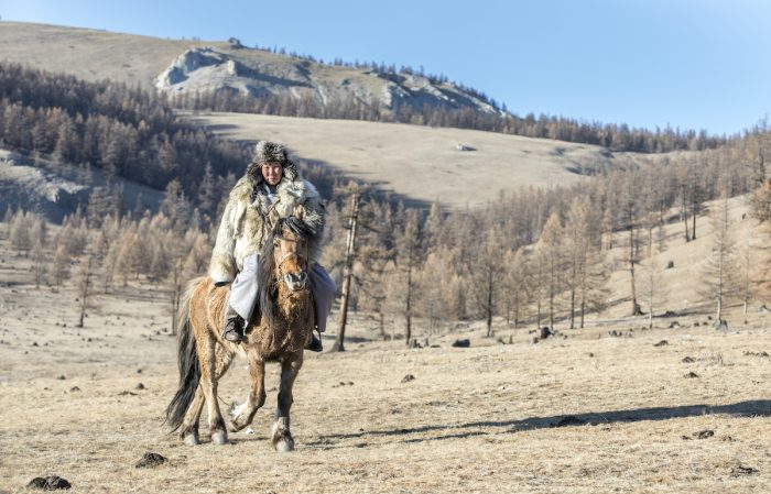 Mongolian man wearing a wolf skin jacket, riding his horse in a steppe of northern Mongolia photo via Depositphotos