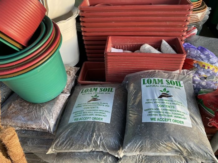 Organic Loam Soil and Plastic Pots for Sale