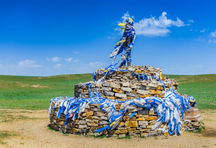 Ovoo, traditional Mongolian monument worshiping the cult of mountains and sky, usually in the shape of a pile of stones, Inner Mongolia photo via Depositphotos