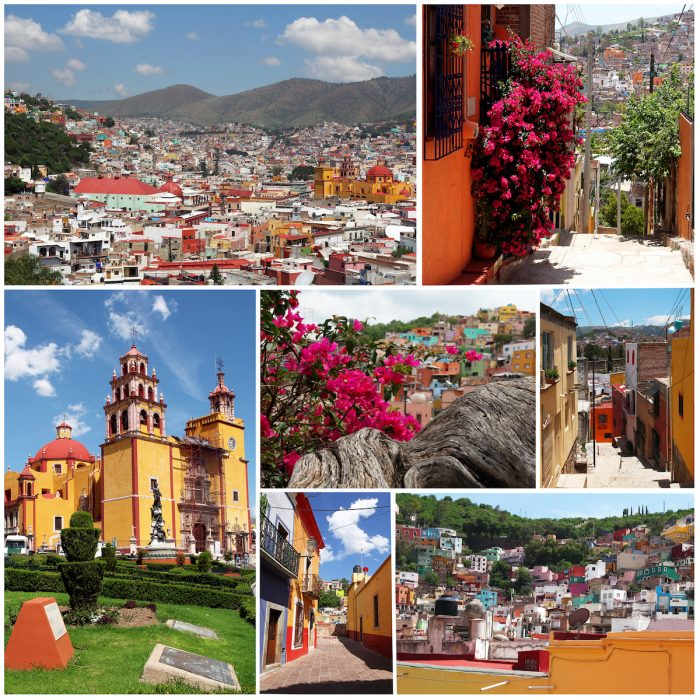 Set of photos from colorful town Guanajuato in Mexico photo via Depositphotos
