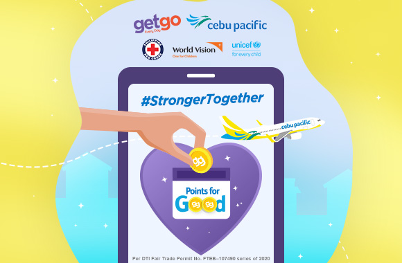 Share kindness by donating your GetGo points to Philippine Red Cross, UNICEF, and World Vision