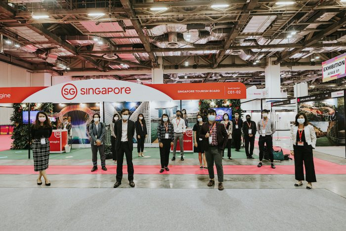 Delegates observe social distancing during TravelRevive, the first international travel trade show to be held physically in the Asia-Pacific during COVID-19.