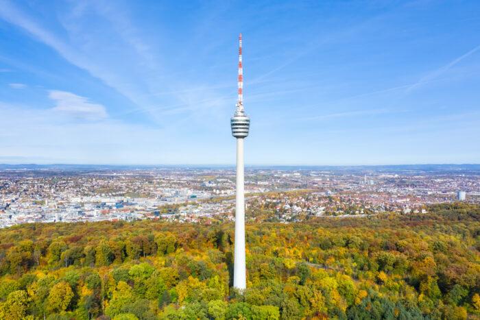 Stuttgart tv tower skyline aerial photo via Depositphotos