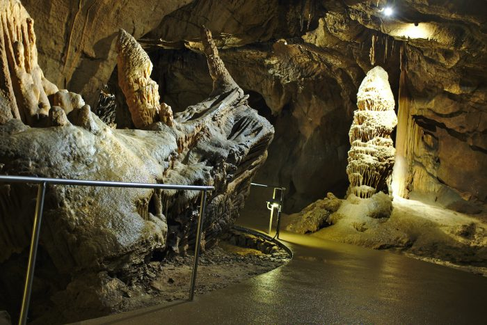 The Locomotive stalactite geological attraction in Baradla cave photo via Depositphotos