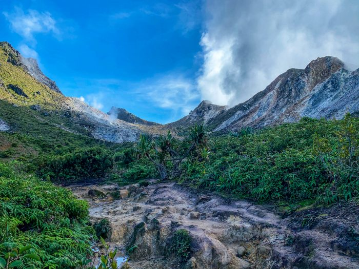 The View of Sibayak Volcano in Sumatra Island, Indonesia photo via Depositphotos