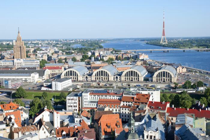 The aerial view of Riga Central Market's pavilions photo via Depositphotos