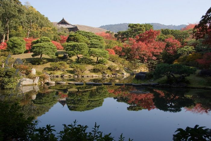View of Isui-en Garden during early fall, towards the Nandaimon gate, and hills of Nara photo by Kimon Berlin via Wikipedia CC