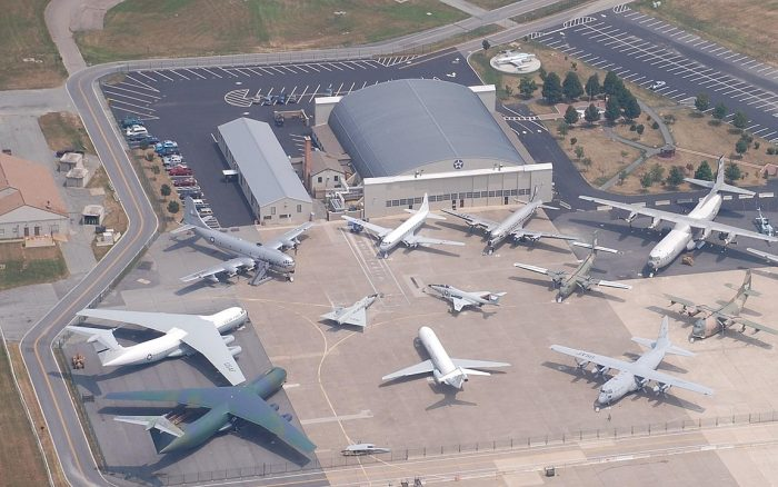 Aerial view of the Air Mobility Command Museum in Dover, Delaware by Teamski1 via Wikipedia CC