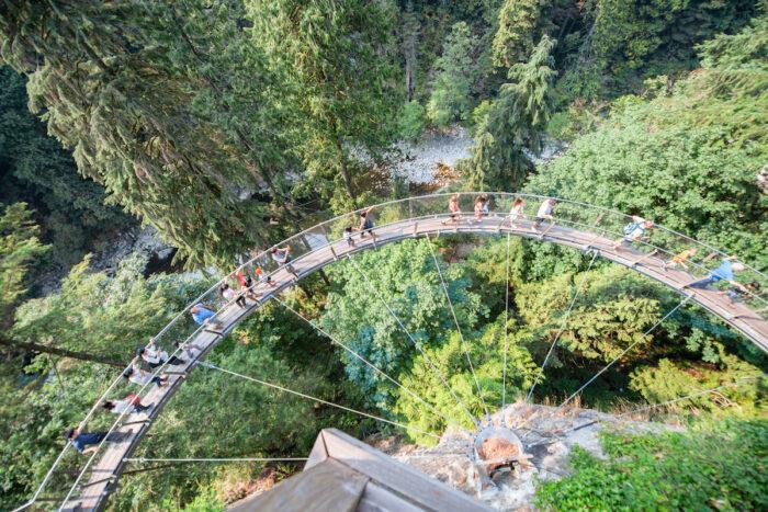 Capilano suspension bridge aerial view, British Columbia, Canada photo via Depositphotos