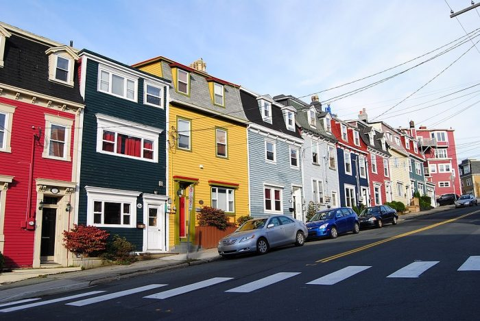 Houses in St. John's are typically painted in bright colours. by Paul via Wikipedia CC