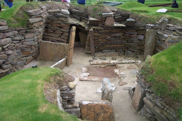Neolithic excavations at Skara Brae on Orkney in Scotland photo by John Burka via Wikipedia CC