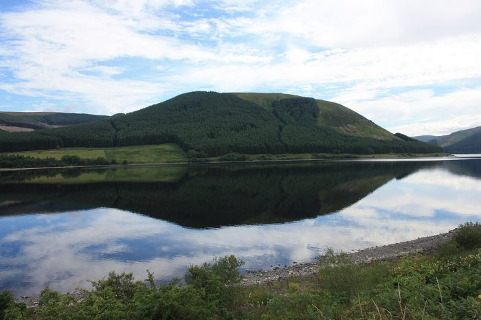 St Mary's Loch near Selkirk from the west bank by Stephencdickson via Wikipedia CC
