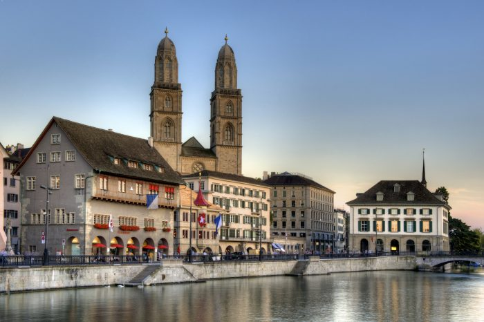 Zurich old town at sunset photo via Depositphotos