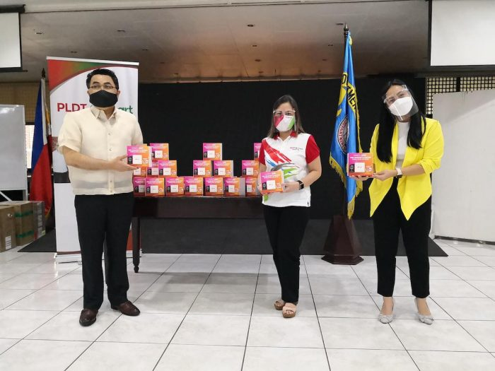Shown in photo during the turn-over of PLDT Home WiFi Prepaid units to the Department of Education are, from left, DepEd Undersecretary Tonisito Umali, PLDT-Smart Foundation President Ma. Esther Santos and PLDT Home Product Manager Kristine Rementilla.
