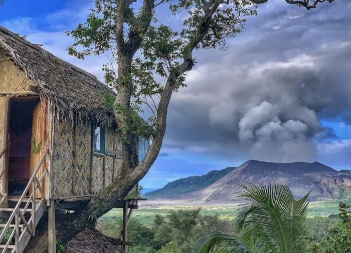 Treehouse Bangalow looking across rainforest toward Yasur Volcano