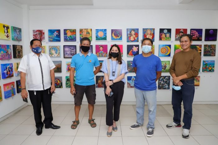 (L-R): Antipolo City Tourism Officer Marino Bacani, Noel Blanco, Secretary Puyat, Jose Glenn P. Blanco, and Michael P. Blanco against a variety of artworks in the museum