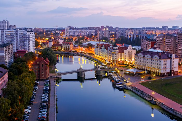 Early morning in Kaliningrad. River Pregolya photo via Depositphotos