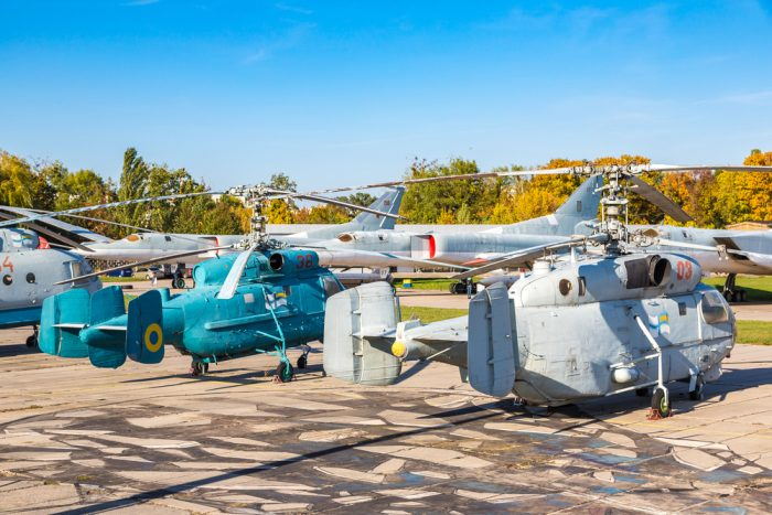Helicopter in Kiev National Aviation Museum photo via Depositphotos