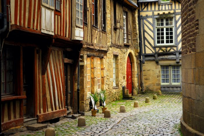 Medieval houses in Rennes France photo via Depositphotos