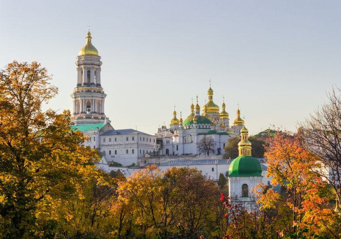 Panorama of Kiev-Pechersk Lavra in autumn evening photo via Depositphotos